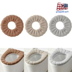 1PCS Bathroom Toilet Seat Cover Soft Knitting Fabric Case Pa