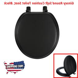 Ginsey Round Soft Cushion Toilet Seat, Black Fits Standard,