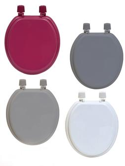 Round Molded Wood Toilet Seat Solid Colors Adjustable Hinges